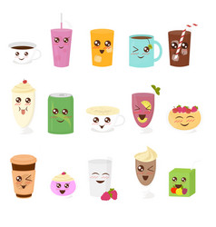 set of cute drinks in flat vector image