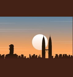 Silhouette of malaysia and singapore scenery vector
