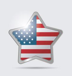 star usa flag glossy symbol emblem image vector image