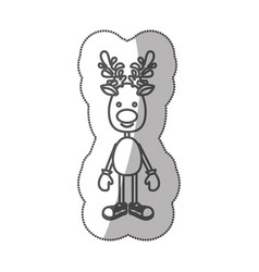 sticker silhouette reindeer standing with gloves vector image vector image