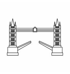 Tower bridge icon outline style vector