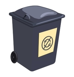 Trashcan icon cartoon style vector