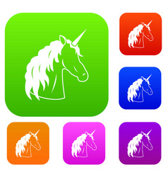 unicorn set collection vector image