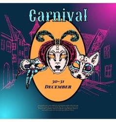 Venetian carnival mask composition poster vector