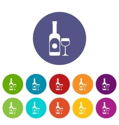 Wine and glass set icons vector image vector image