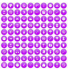 100 tension icons set purple vector