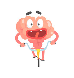Scared humanized cartoon brain character riding on vector