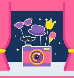 Photo camera with props and booth curtains vector