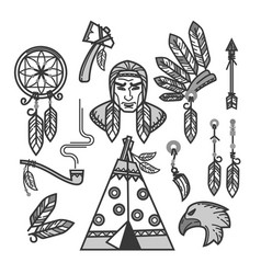 Native american indians traditional culture vector