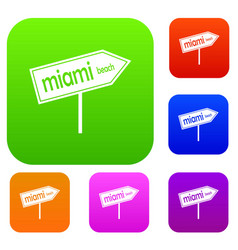 Miami arrow post sign set collection vector