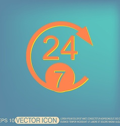 24 7 character 247 open 24 hours a day and 7 vector image