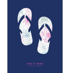 Gray and pink lineart florals flip flops vector