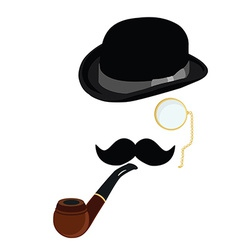 Bowler hat smoking pipemustache and monocle vector
