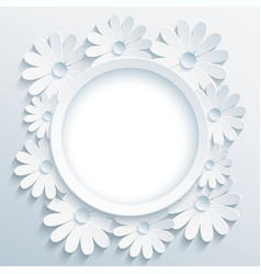 Round grey frame with 3d white chamomile vector