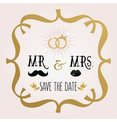 Abstract mr and mrs save the date wedding card vector