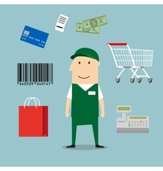 Seller man and retail industry icons vector image