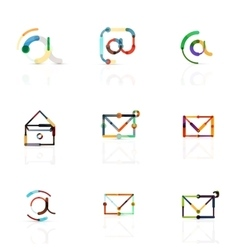 email business symbols or at signs logo set vector image