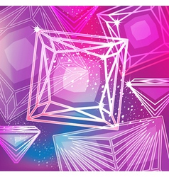 Abstract magenta background with linear diamonds vector