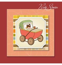baby girl shower card with retro strolller vector image
