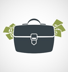 Briefcase with money sticking out vector