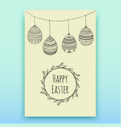 card with hanging easter eggs handdrawn vector image vector image