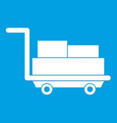 Cart with luggage icon white vector