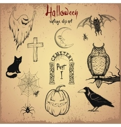 Collection of terrible Halloween objects vector image
