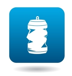 Crumpled empty soda or beer can icon simple style vector image