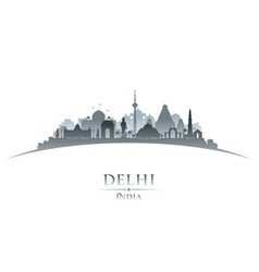 delhi india city skyline silhouette white vector image vector image