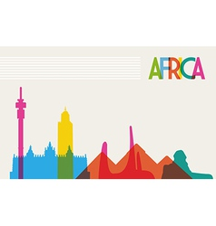 Diversity monuments of africa famous landmark vector