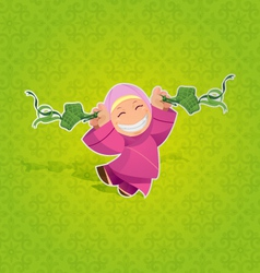 Girl celebrating hari raya aidilfitri vector