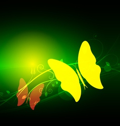 green abstract and butterfly vector image vector image