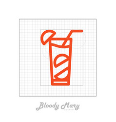 Icon of cocktail with modular grid bloody mary vector