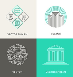 logo design template in trendy linear style with vector image vector image