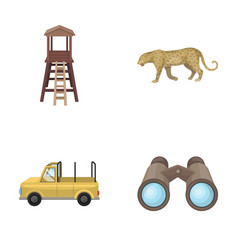 observation tower for the hunter leopard hunting vector image