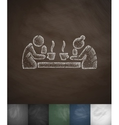 Old men drinking tea icon hand drawn vector