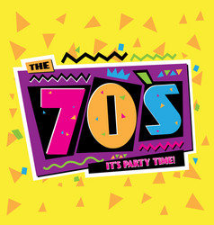 party time the 70 s style label vector image vector image