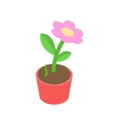 Pink flower in a pot icon isometric 3d style vector image vector image
