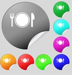 Plate icon sign Set of eight multi colored round vector image vector image