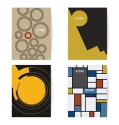 Set of four retro brochures print template in a vector