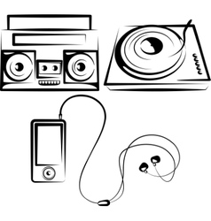 Set of music equipment vector