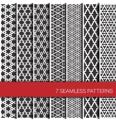 Set of seven geometric patterns Grey and white vector image