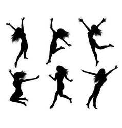 Set silhouettes of jumping women vector image vector image