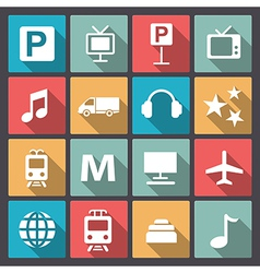Transport and entertainment icons in flat design vector