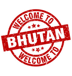 Welcome to bhutan red stamp vector