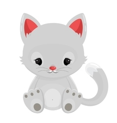 White cat isolated on white background vector image