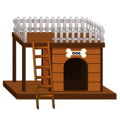 wooden doghouse with ladder vector image