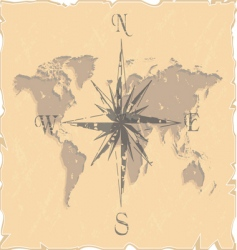 world map with compass vector image vector image