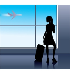 young woman in the airport vector image vector image