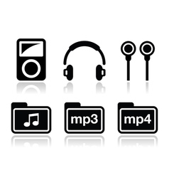 Mp3 player icons set vector
